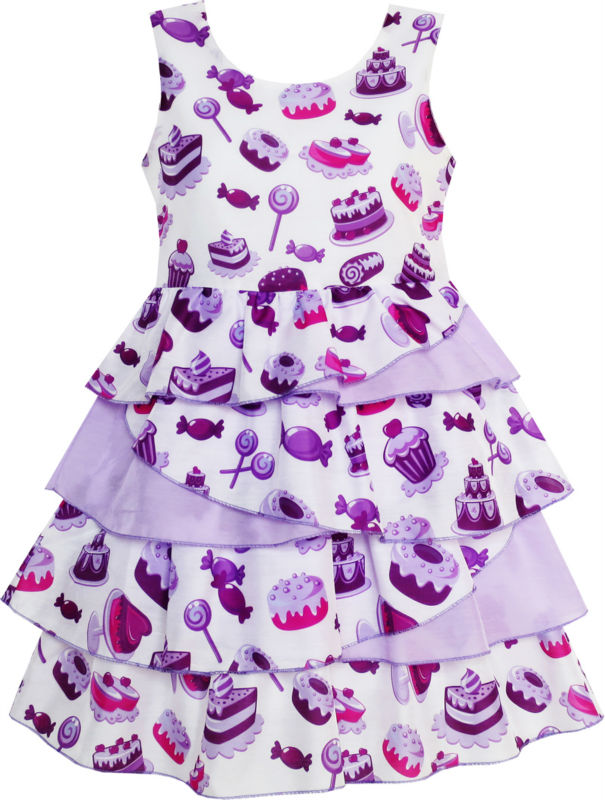 Girls Dress Cake Candy <font><b>Birthday</b></font> Gift Layered Tulle Purple 2018 Summer Princess Wedding Party Dresses Kids Clothes Size 4-10