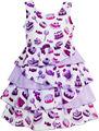 Meninas Vestido Bolo de Presente de Aniversário Doces Em Camadas de Tule Roxo 2016 Vestidos de Festa de Casamento Da Princesa Verão Crianças Roupa Tamanho 4-10