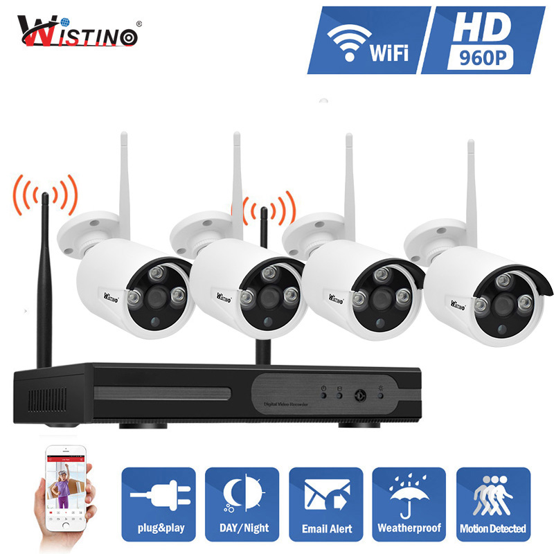 Wistino HD 960P NVR Kits 4CH Wireless WIFI IP Camera Kit Outdoor CCTV Security System IR Night Vision Surveillance Video Monitor annke 4ch 960p hd outdoor ir night vision video surveillance security 4pcs ip camera wifi cctv system wireless nvr kit 1tb hdd