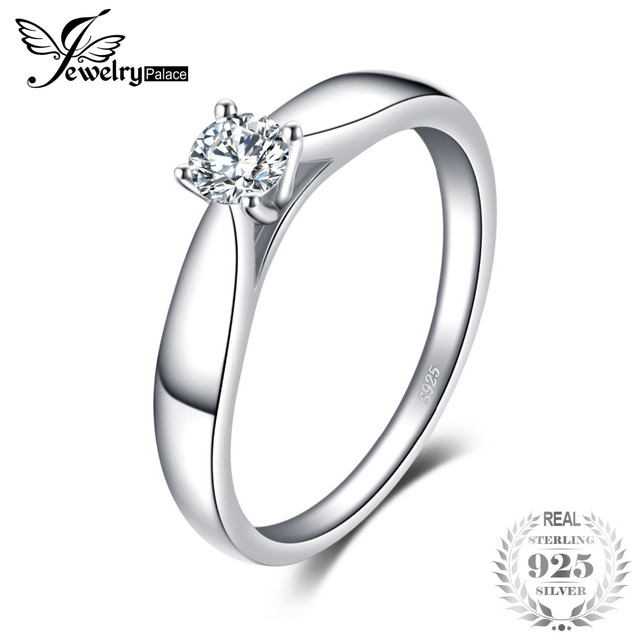 JewelryPalace 925 Sterling Silver 0.2ct Cubic Zirconia Solitaire Engagement Ring