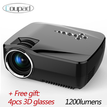 Led projector full hd 1200 lumen smartphone mobile phone support 1080P android 4.4 wifi bluetooth 3D TV beam home theater