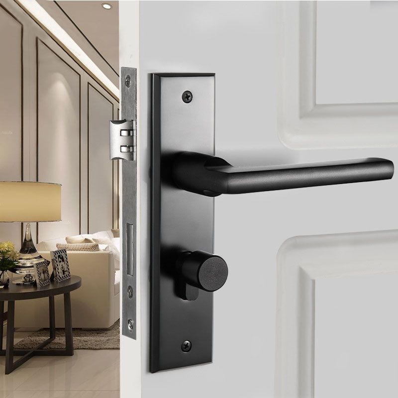 Black panel door locks modern minimalist bedroom door door - Door handles with locks for bedrooms ...