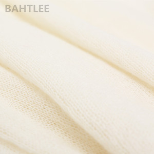 Image 5 - BAHTLEE spring autumn womens mohair wool knitted pullovers sweater slash neck flare sleeve thin looser and comfortable