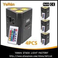 (4 Uds.) luz LED Par alimentada por batería luz RGBW Quad-Color 4in1 DJ Luz de lavado luces DJ