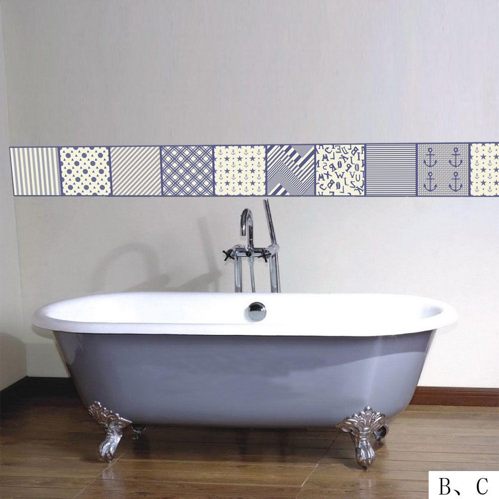 Mediterranean Style Retro Thicker Tile Stickers PVC Bathroom Wall ...