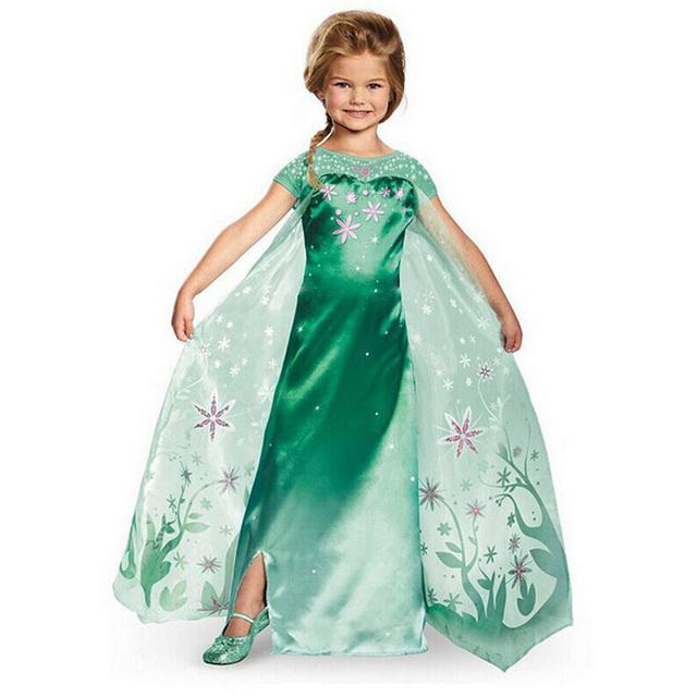 Nueva primavera Elsa niña vestido De princesa verde Cosplay De la historieta De manga corta para niños pequeños De Festa Meninas De Vestir Vestir