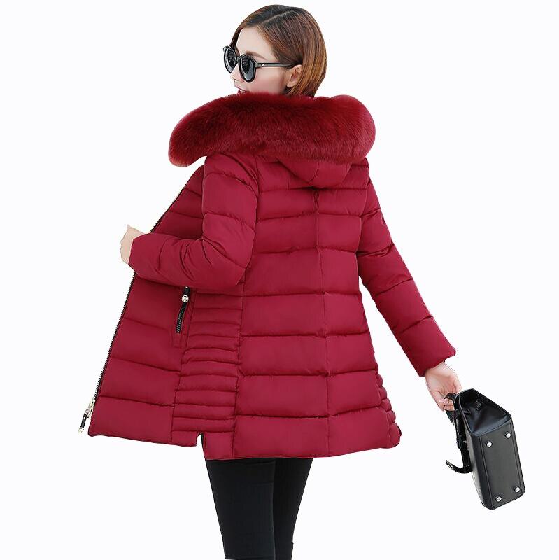 Rlyaeiz 2018 Fashion Winter Jackets Women Coat Mid-long Warm Slim Thicken Parka Down Jacket Fur Collar Hooded Women Winter Coats