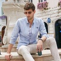 Dou Dou Long Sleeve Casual Loose Type Fang Ling Long Sleeve Stripe Thin Youth 2018 Sale New Uomo Men Blouse Shirt Linen Top