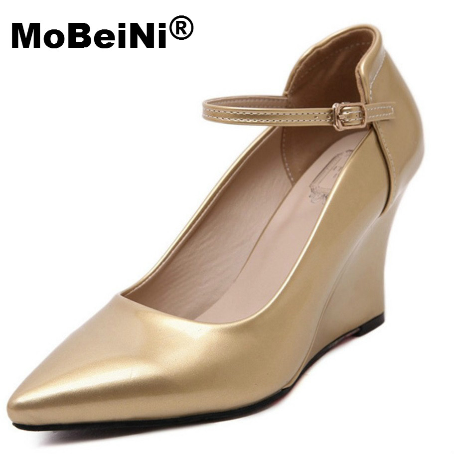MoBeiNi New Brand New Women Pumps Wedge PU Pointed Toe High Heels Golden Work Wedding Shoes Woman Wedges Plus size 34-40 plus size 34 49 new spring summer women wedges shoes pointed toe work shoes women pumps high heels ladies casual dress pumps