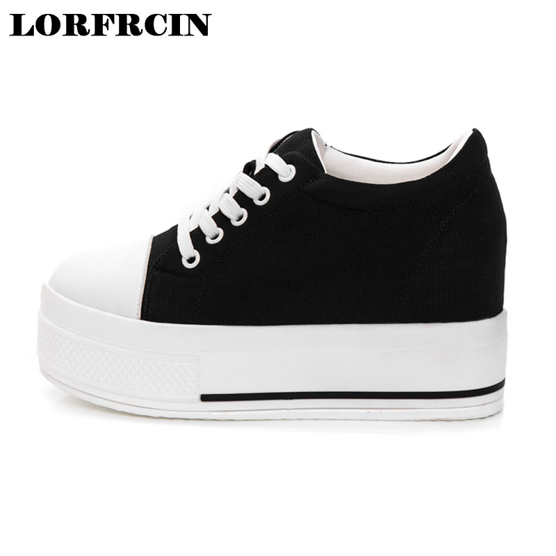 LORFRCIN Height Increasing 9cm Canvas Shoes Woman Hidden Heel Platform Shoes White Black Casual Shoes For Women Trainers 2017 free shipping new arrival white height increasing women s high heel platform canvas shoes women solid color