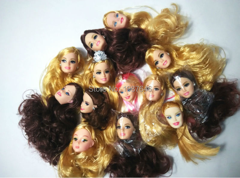 New Arrival Real Women Doll Equipment ,20 pcs (10 pcs Random Ship heads+ 10 pcs sneakers) for barbie doll