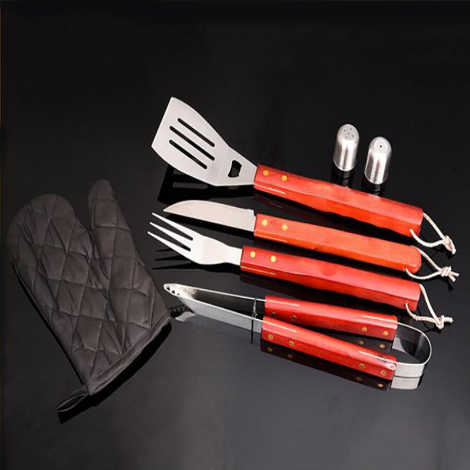 Best Value Green apron stainless steel eight-piece multi-function combination baking tools stainless steel barbecue tools