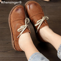 Whensinger 2018 New Arrival Women Genuine Leather Shoes Lace Up Flats 2 Colors 8561 Casual sneakers womens flat shoes