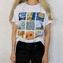 Van Gogh art oil painting lattice print T shirt Women White T-shirt Abstract Great Wave Tops tee shirt Femme Camiseta mujer недорого