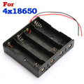 High Quality  New Arrival Hot Sale Black Plastic 4 Ways Battery Storage Case Box Holder for 4 x 18650 with 6 Wire Leads