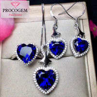 Optimized Sapphire Jewelry sets for women Ladies Gifts Heart Jewelry Necklace Ring Earrings 925 Sterling silver #276