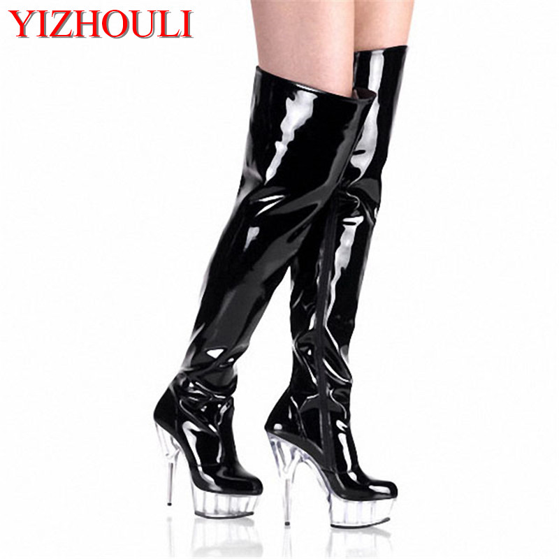 15cm ultra high heels boots barreled crystal platform japanned leather performance shoes plus big size 6 inch thigh high boots