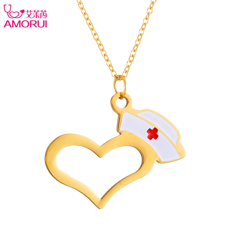 AMORUI New Rose Gold/Gold/Silver Red Enamel Nurse Hat Prayers