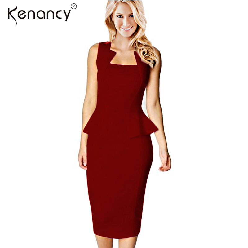 673125a278d Προϊόν - Kenancy Clearance Sale Fashion Style Women Summer Dress Sleeveless  Solid Color Knee-Length Office Bodycon Dresses