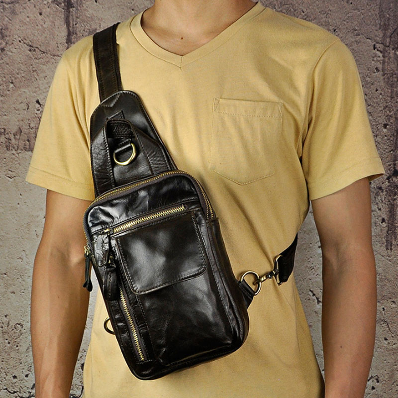Men High Quality Oil wax Genuine Leather First Layer Cowhide Vintage Riding Sling Chest Bag  Travel Crossbody Pack Handbag slow head layer cowhide handbag retro oil wax bag leather bag travel bag
