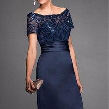 Элегантное темно-синее платье-футляр для матери невесты, атласное платье с короткими рукавами и пайетками до колена, свадебное платье для гостей на заказ