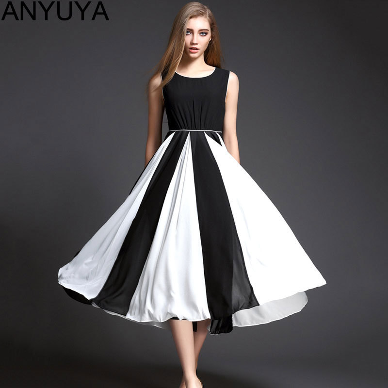 Women Casual Summer Style Maxi Dress 2015 Sleeveless Black White