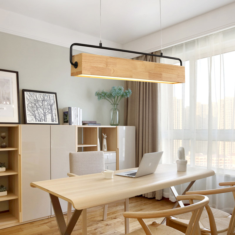Japan Wooden Led Pendant Light Fixture Modern Metal Rod Hanging Lamp Nordic Style Dining Room Restaurant Cafe Indoor Lighting
