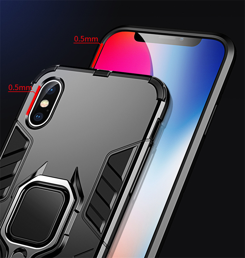 Luxury Armor Shockproof Kickstand Phone Case For iPhone XS MAX XR XS X 8 7 6S Plus 5S SE Ring Stand Holder Bracket Cover Funda (1)