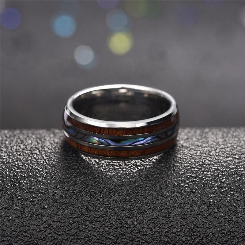Jiayiqi Men Rings Stainless Steel Wood Grain Fashion Women Rings Male Jewelry Gifts 2