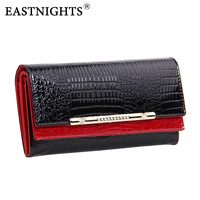 EASTNIGHTS cowhide wallets crocodile women wallet Genuine Leather designers brand women wallet lady Fashion clutch womens purses
