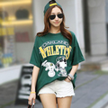 2016 summer Korean long cartoon cotton letters printed t-shirt loose large size short-sleeved female