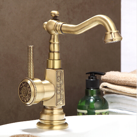 Newly Wholesale And Retail Deck Mounted Basin faucet Vintage Antique Brass Bathroom Sink Basin Faucet Mixer Tap Kitchen faucet цена