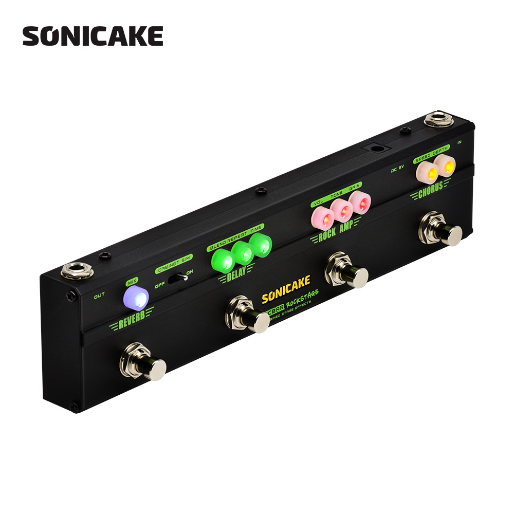 Sonicake Multi Effect Pedal Rock Stage Combined 4 Classic Arena Rock Guitar Effects in 1 Chorus Distortion Delay,Reverb QCE-10