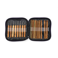Looen 20pcs/set Baby Knitting Needles Handle Bamboo Crochet Hooks Knitting Needles Set Weave Craft Tool with Bag Mummy Necessary