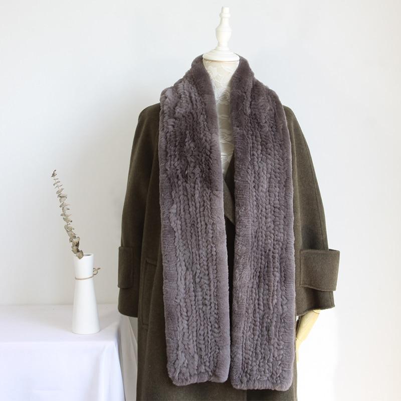 2018 Winter Women Woman Lady Real Rex Rabbit Fur Knit Scarf Wrap 180cm YH158