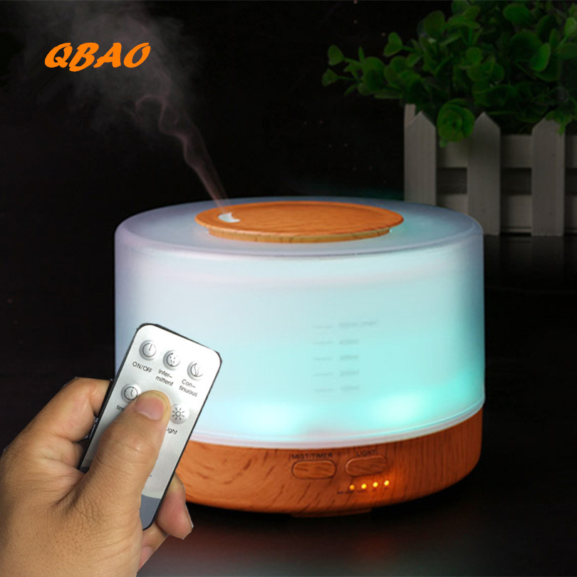 Aroma Oil Diffuser Ultrasonic Humidifier Remote Control 10s/2H/4H Timer 500ml Tank Lamp Wood Ultrasonic Humidifiers for Home microcomputer intelligent humidifier aroma purification remote control a key touch ultrasonic humidifier