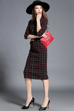2016 Autumn and Spring Scottish tartan Collar British Style Red Tartan Plaid Belted Slim Waist Cotton Office Wear Pencil Dress