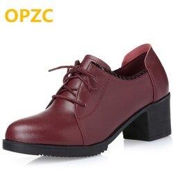 OPZC grand taille 41 42 haute talons femmes chaussures naturel véritable en cuir Rouge dentelle casual chaussures femme printemps strass
