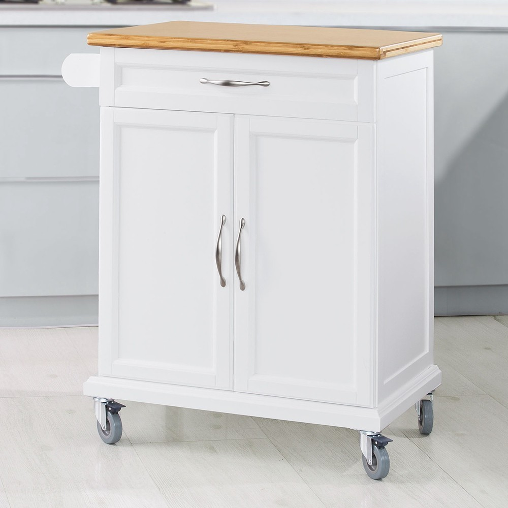 SoBuy FKW13-WN Kitchen Cabinet Kitchen Storage Trolley Cart with Bamboo Worktop,