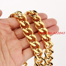 7-40″ CUSTOMIZE Length 15mm Boys Mens Gold  color  Curb Cuban Chain Stainless Steel Necklace Fashion jewelry Bracelet Gift
