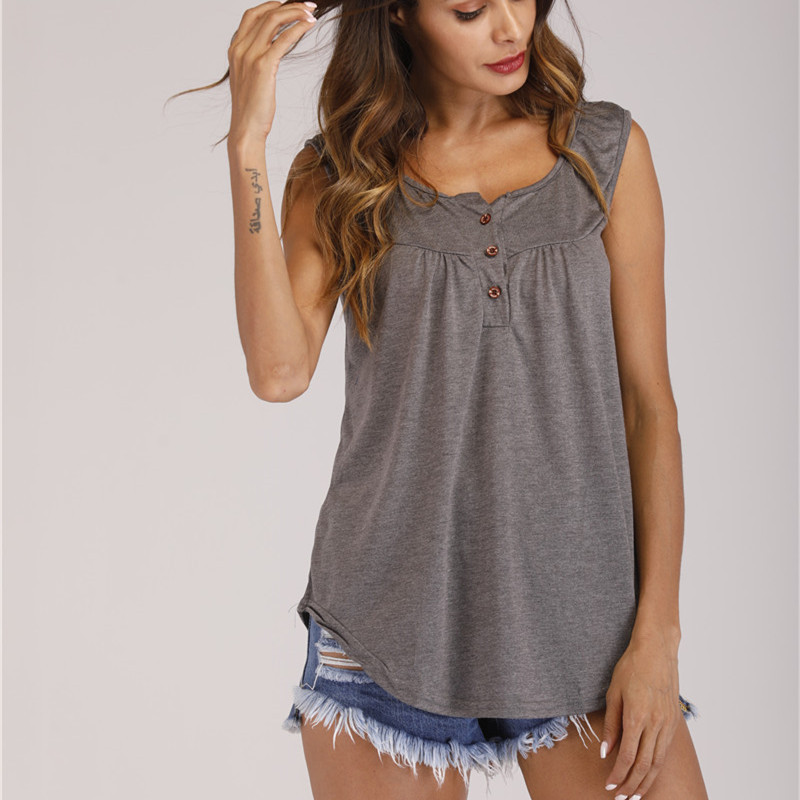 Newest Fashion Summer Women T-shirt Tops Casual Solid Loose Sleeveless Button V Neck Slim Tops Streetwear t-shirt Plus Size 5XL