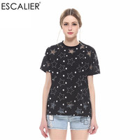 ESCALIER Hot Sale T Shirts For Women Top Quality Fashion Women Summer Hollow Women T Shirt