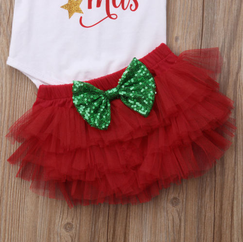 Newborn Xmas Clothes New Infant Baby Girls Christmas Outfits Romper Tutu Shorts Headband Clothes in Clothing Sets from Mother Kids