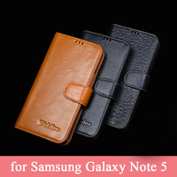 Custom Luxury Genuine Leather Case for Samsung Galaxy Note 5 Phone Cover Flip Fashion Plain Bag Skin for Galaxy Note5 Note V