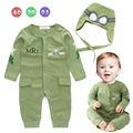 Infant Pilot costume baby little boys air force captain green long sleeve romper with hat baby jumpsuits
