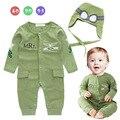 Infantil traje de bebé niños pequeños capitán de la fuerza aérea Piloto verde de manga larga mono del bebé del mameluco con el sombrero