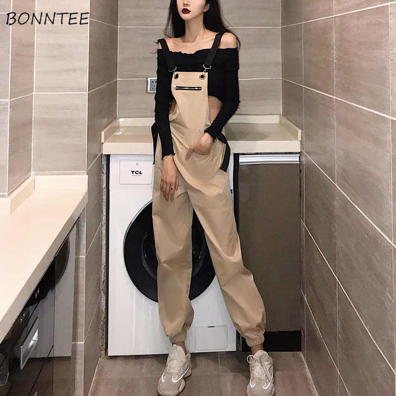 Jumpsuits Vrouwen Strap Slim Dunne Rits Koreaanse Stijl Retro Trendy All-Match Casual Womens Jumpsuit Solid Pockets Student Broek