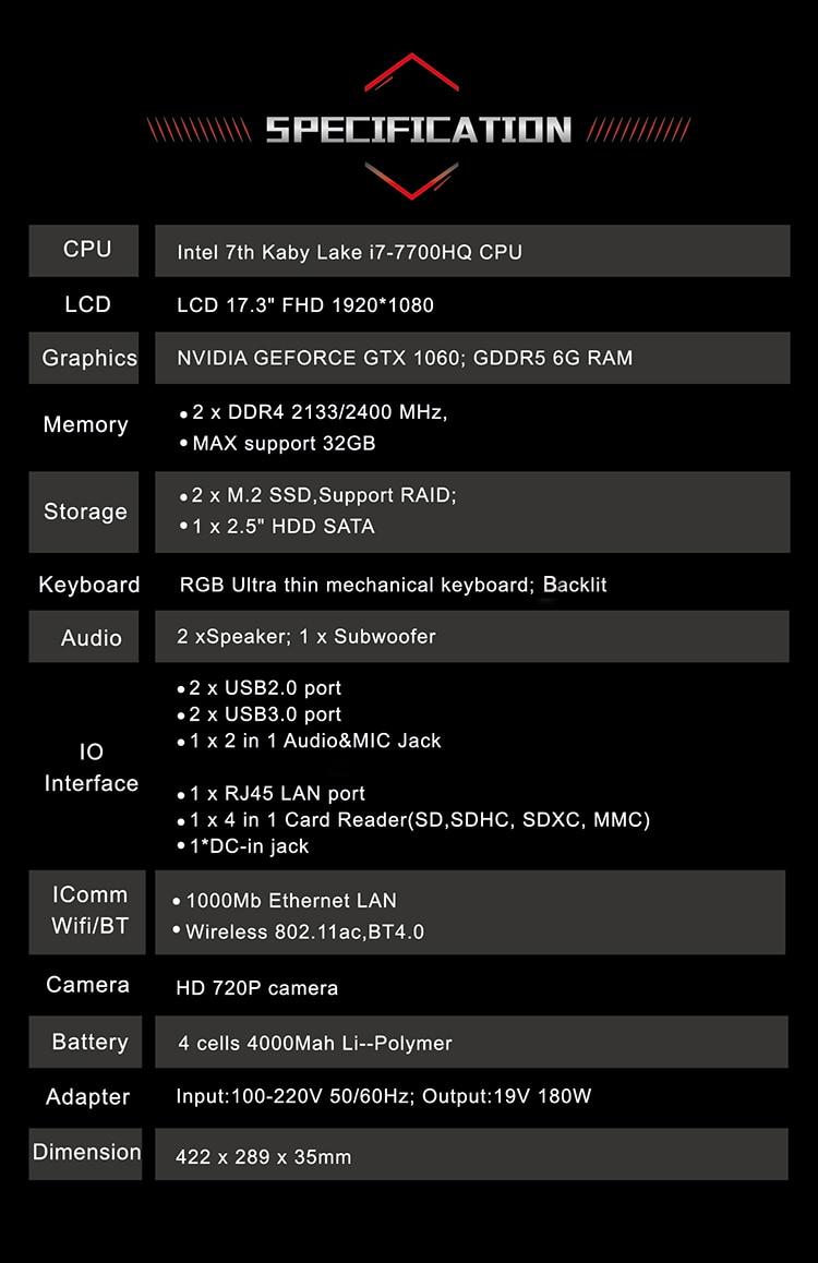 HTB1upJ0tv5TBuNjSspcq6znGFXaE BBEN G17 Laptop Gaming Computer 32G RAM 512G SSD 2T HDD Intel i7 7700HQ GDDR5 NVIDIA GTX1060 Windows 10 RGB Mechanical Keyboard