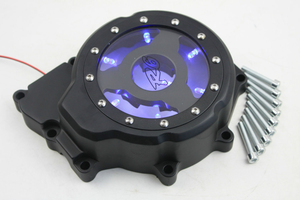 Aftermarket free shipping motorcycle accessories Bule LED Engine Stator cover see through for Yamaha YZF-R6 2006-2013 Black left aftermarket free shipping motorcycle part engine stator cover for suzuki gsxr600 750 2006 2007 2008 2009 2013 black left side