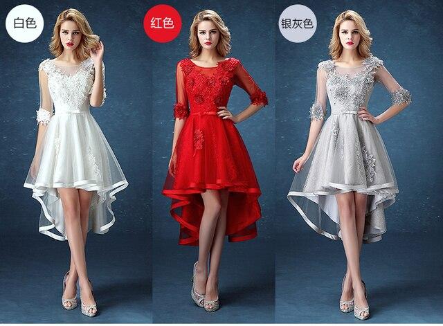 Multi Color Wedding Dress Tulle Applique Beaded Half Sleeves Bridal Dress  Elegant Hi Lo Vestidos